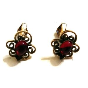 Vintage Gold & Ruby Earrings
